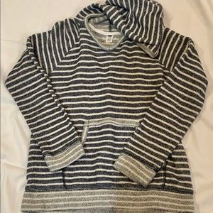 Girls old navy blue and white striped hoodie sz 10